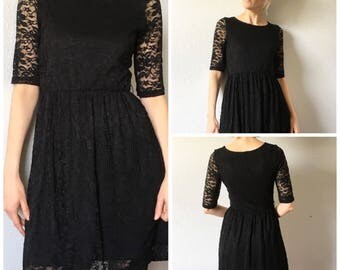 Retro Little Black Dress Modern Retro 50's Style Lace Dress Size Two Sheer Lace Arms Above the Knee Length
