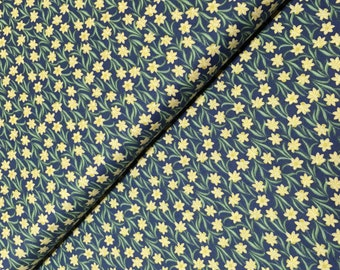 Lewis & Irene Patchwork Quilting Fabric Flo's Little Flowers FLO3.4 Daffodils on Dark Blue