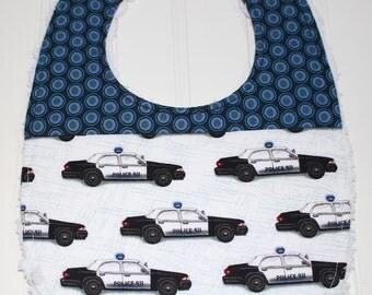 Police Baby Bib - Baby Police Car Bib -  Police Cars, Police Man, Police Woman, Adjustable Baby Bib, Botique Baby Bib, Chenille Bib