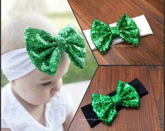 Baby girl headband, christmas green bow headband, baby headbands, infant headbands, baby head wraps, baby bows, sequin bow