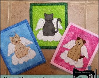 PDF Pattern for Angel Pets Mug Rug, Dog Mug Rug Pattern, Cat Mug Rug Pattern, Mini Quilt Pattern - Sewing Pattern, Tutorial, DIY