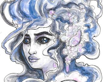 Selkie Monster Girl Portrait Watercolor