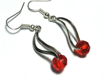 Red Earrings, Glass Beads, Vintage Style Silver Tone - Hooks, Clip-On or Butterfly Studs or 925 Silver Hooks (ET13-7)