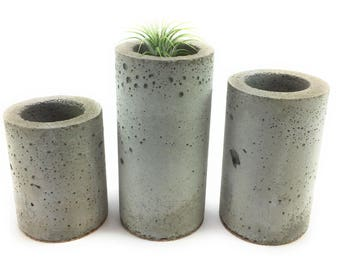 Concrete Succulent Planters/Air Plant Planters.  (set of 3) Natural gray.    FREE SHIPPING! Ready To Ship!