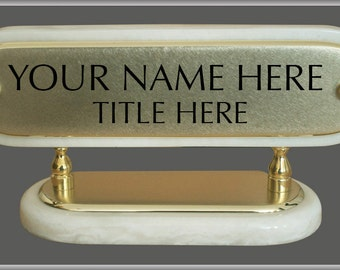 """Solid Brass Engraved Signs """" White Desk Set Nameplate """" Sign, Plate, Plaque, Signs, Signage"""