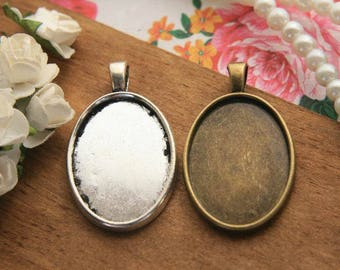 Cabochon boards photo glass cabochon trays 25*18mm cameo bases cabochons blanks vintage silver, antique bronze PTO28-A1433