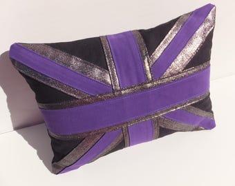Cushion, Union Jack Flag Cushion, Decorative Cushion, Patriotic Cushion, Handmade Black Purple Silver