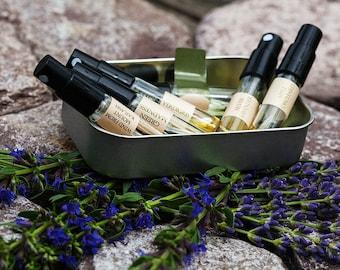 Natural eau de perfume Landscape sample set- 7 samples 1 ml of fresh, green, shiny perfumes with bergamot, lavender, violet, Black Currant