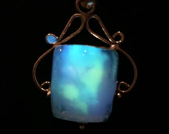 Glowing mystical opalite necklace sterling silver scrollwork