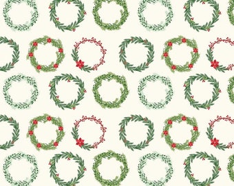 Comfort and Joy - Wreaths Cream by Design by Dani for Riley Blake Designs, 1/2 yard, C6263-Cream
