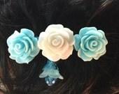 Girl's Barrette, Flower Barrette, Rose Barrette, Blue White Barrette, Flower Dangle, French Barrette, Swarovski Crystal, Gift for Girl