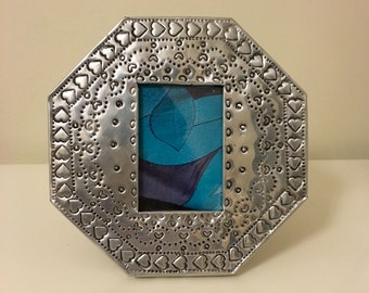 Hand stamped metal picture frame