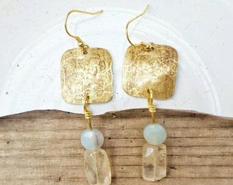 Handcrafted | Brass dangle earrings | Amazonite | Glass quartz | Earrings