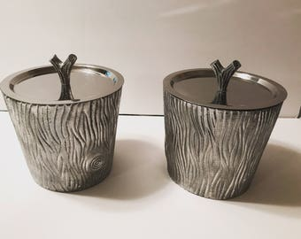 Pair of vintage faux bois ice buckets