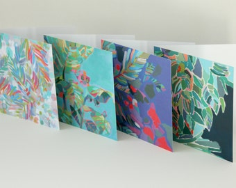 Pack of Four Greeting Cards / Leaves