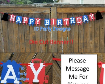 THOMAS THE TRAIN Inspired Banner Die Cut NoT Printed One, Happy Birthday, It's A Boy, Chuga Chuga Two Two, I Am 1,