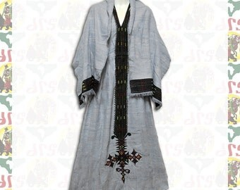 Ethiopian Traditional Hand Embroidered Dress (w-a52)