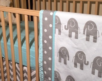 Elephant Baby Bedding - Sheet Blanket and Crib Skirt in Grey Elephants and Geometrics
