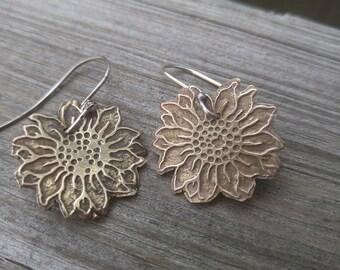 Etched Brass Sunflower Dangle Earrings