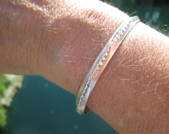 Sterling Silver Stamped Stacking Cuff Bracelet
