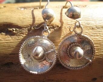 Sterling Sombrero Dangle Earrings