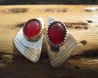Carnelian and Sterling Silver Post Earrings