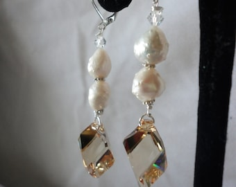 Flawless Cubic Champain Crystals Baroque Earrings****.