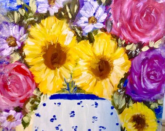 "Original oil Still life floral modern floral oil painting ,""  sunflower spring bouquet "" 10 by 10"