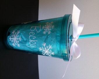 Personalized 2016 Name Snowflake Double Wall Acrylic Tumbler-22 oz w/ screw on lid & straw-Name Tumbler