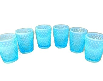 Vintage Fenton Hobnail Blue Juice Glasses X6