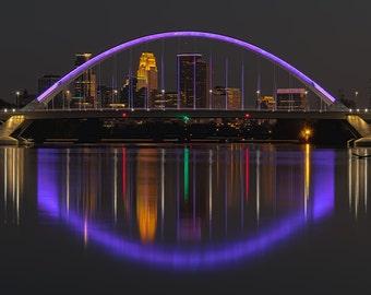 Minneapolis Lowry Bridge Lit up Purple for Prince