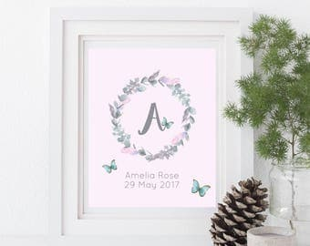 Personalised initial letter, girls name, Watercolor wreath with butterflies and feathers, digital file, new baby gift, nursery decor, print