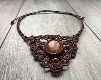 Aventurine macrame necklace by Belisamag, boho chic necklace, macrame gemstone, fairy necklace, tribal gipsy jewelry, hippie necklace.