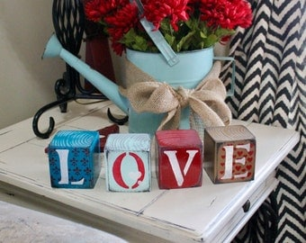 Love blocks, rustic wooden, shabby chic, country, hearts, Valentines gift