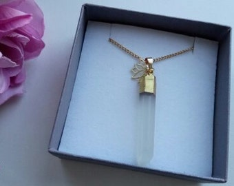 Gold plated curb chain necklace with rock crystal point and 14ct gold vermeil lotus flower charm