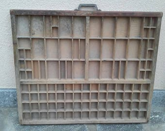 Old wood printer's drawer printer tray case box display letterpress drawer rustic industrial