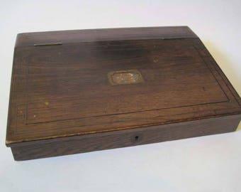 Lap Desk, Traveling Desk - Wood with Leather interior - Writing Slope - Vintage