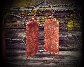 Copper Etched Earrings