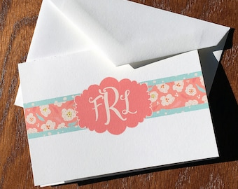 Exuberantly Sweet Floral Monogram Folded Note Cards, Monogram Stationery Set, Monogrammed Thank You, Personalized mothers days gifts ideas
