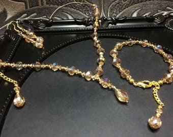 Champagne Crystal Necklace Set, Champagne Necklace, Crystal Bridal Necklace, Swarovski Topaz, Wedding Jewelry, 3 Piece Crystal Set, Gifts