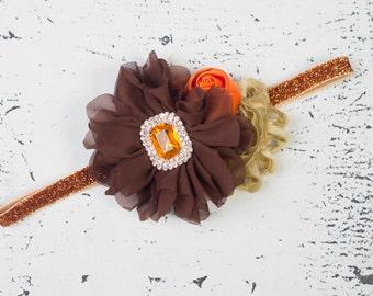 THANKSGIVING Headband, Baby headband, Brown Gold Orange Flower Girl Headband, Fall Girls Headband, Girls First Birthday Headband