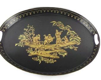 Large Asian Tray Tabletop Size Tray, Decorative Tray