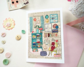 Sewing themed art card - Birthday, Thank You, Thinking of You, Farewell card