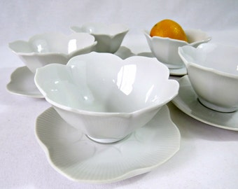 Vintage Japanese Bowls - White Lotus Rice Bowls and Saucers - Set of 5 Fondue Sauce Bowls and Plates