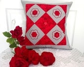 "Red Roses Patchwork Pillow Cover Size 16"" by 16"" Roses Cushion Cover, Cushion Covers Australia, Red Decorative pillow cover, Christmas Gifts"