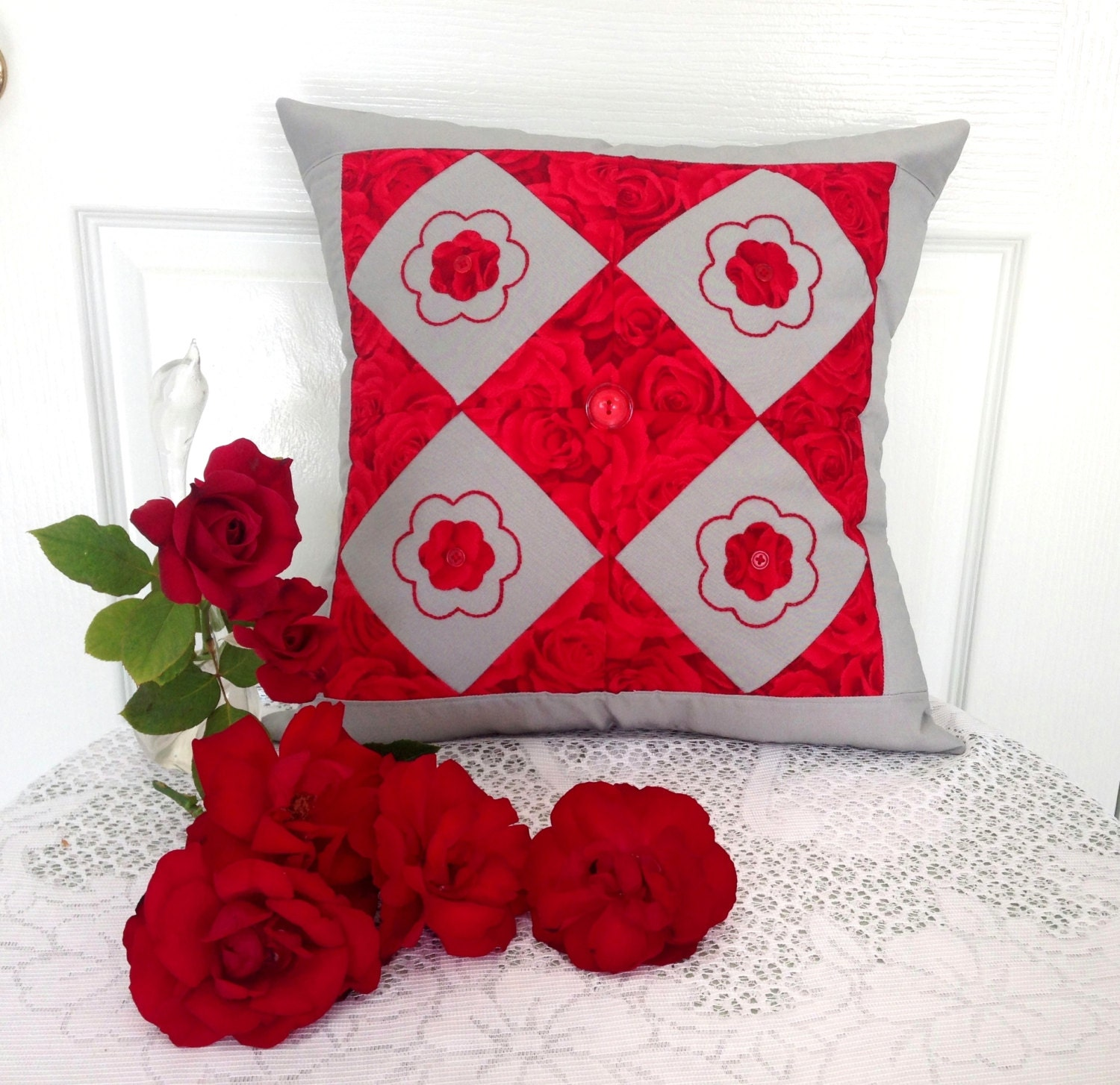 Red patch work cushion cover