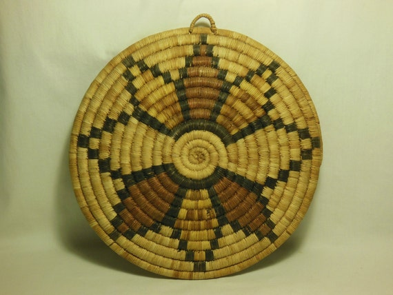 Early 1900's Hopi Coiled Indian Basket Geometric Polychrome 11""