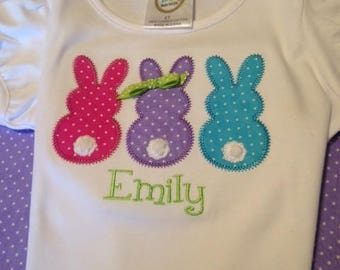 Easter Bunny Trio--Personalized Baby Onesie or Girls' T-Shirt