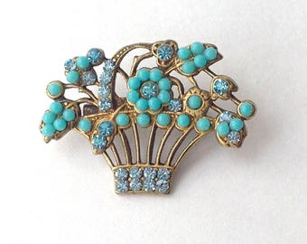 Turquoise and Gold Rhinestone Flower Basket Brooch Pin, Lovely Charming Perfect for Summer
