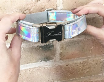 "Adjustable dog collar ""Holographic silver"""
